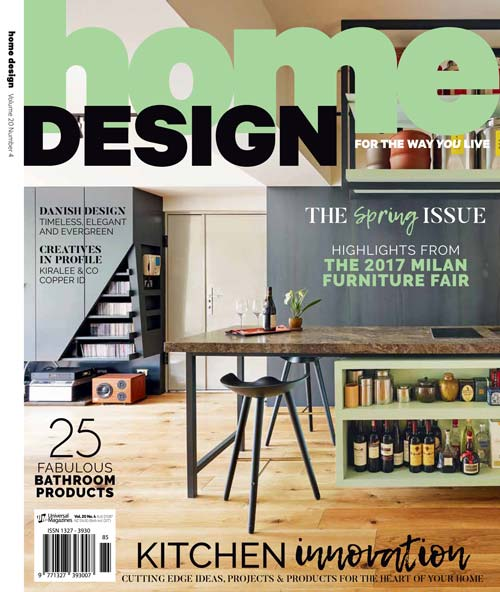 Home Design Magazine cover featuring Premier Kitchens Australia Cammeray kitchen design