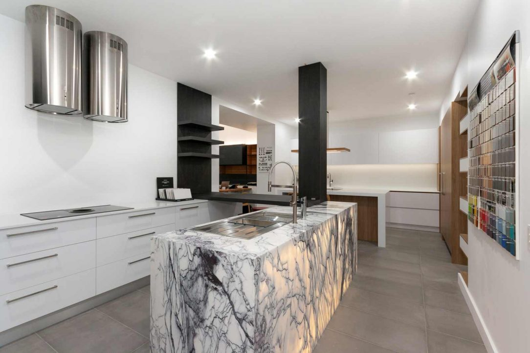Kitchen design featuring Silestone Blanco Zeus benchtop, on display at Premier Kitchens Australia Drummoyne