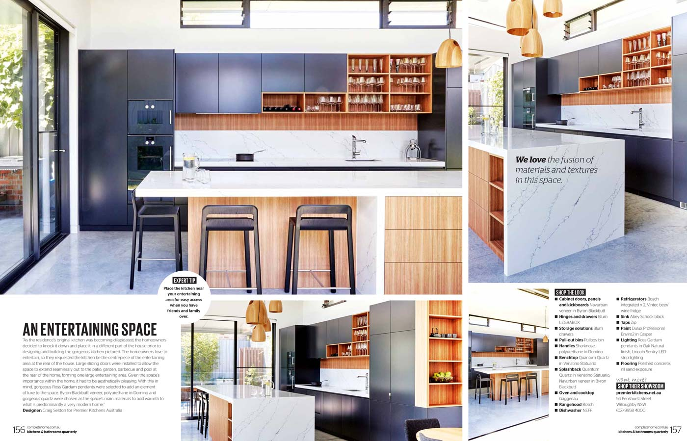 Kitchens and Bathrooms quarterly magazine article featuring Premier Kitchens Australia Cammeray kitchen design