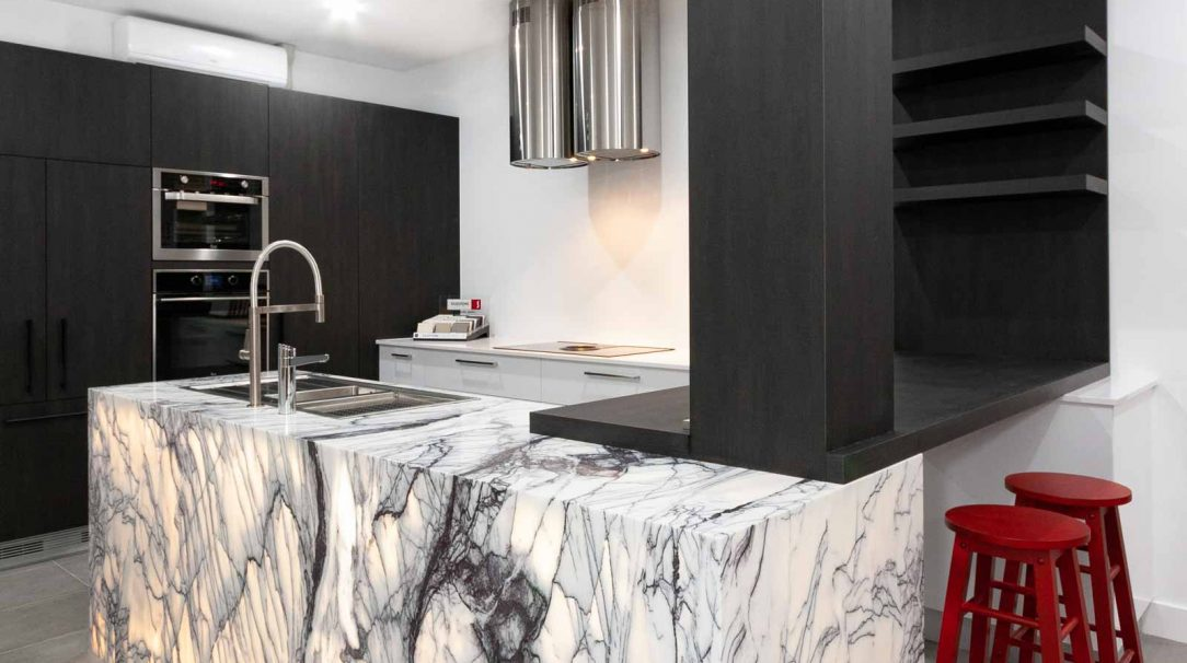 Kitchen design displays at Premier Kitchen's Showroom, Drummoyne.