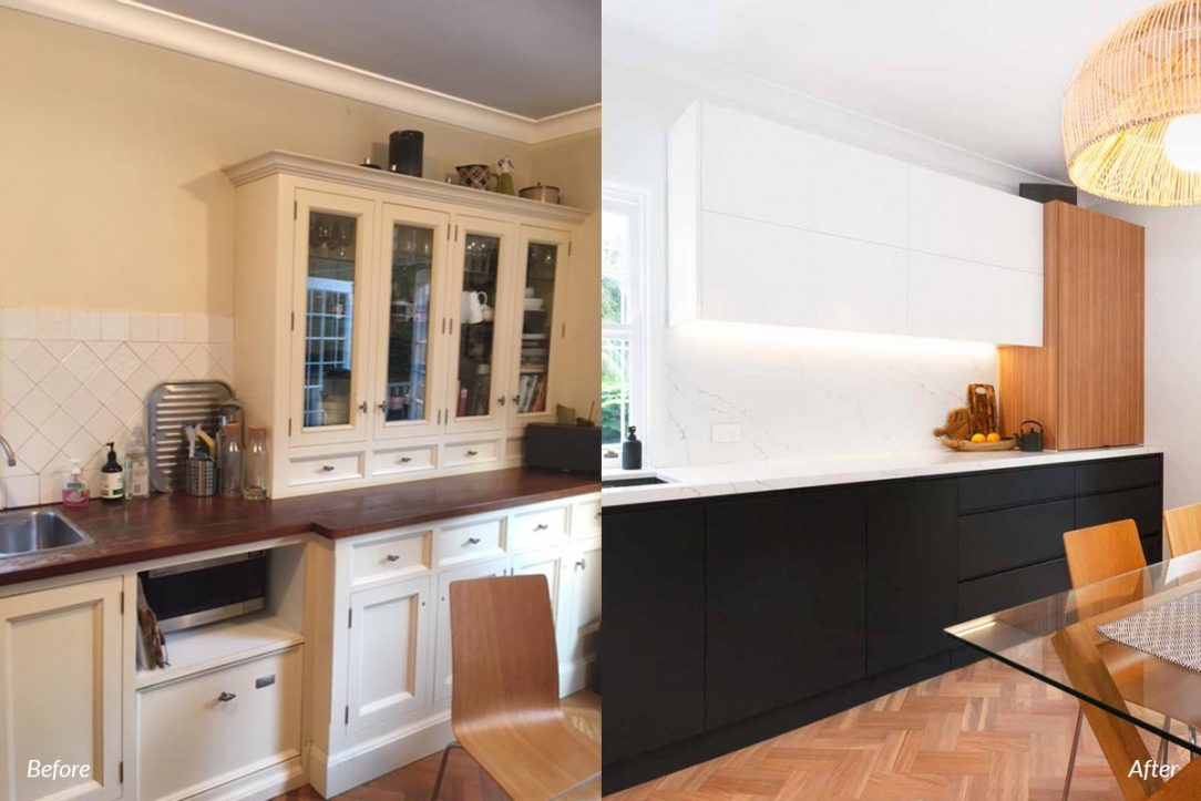 Kitchen renovation before and after, modern black and white kitchen design with warm timber accents. Featuring Smeg appliances, Fisher & Paykel Fridge, Dulux polyurethane doors, Quantum Quartz benchtop, black Blanco sink & black tapware.
