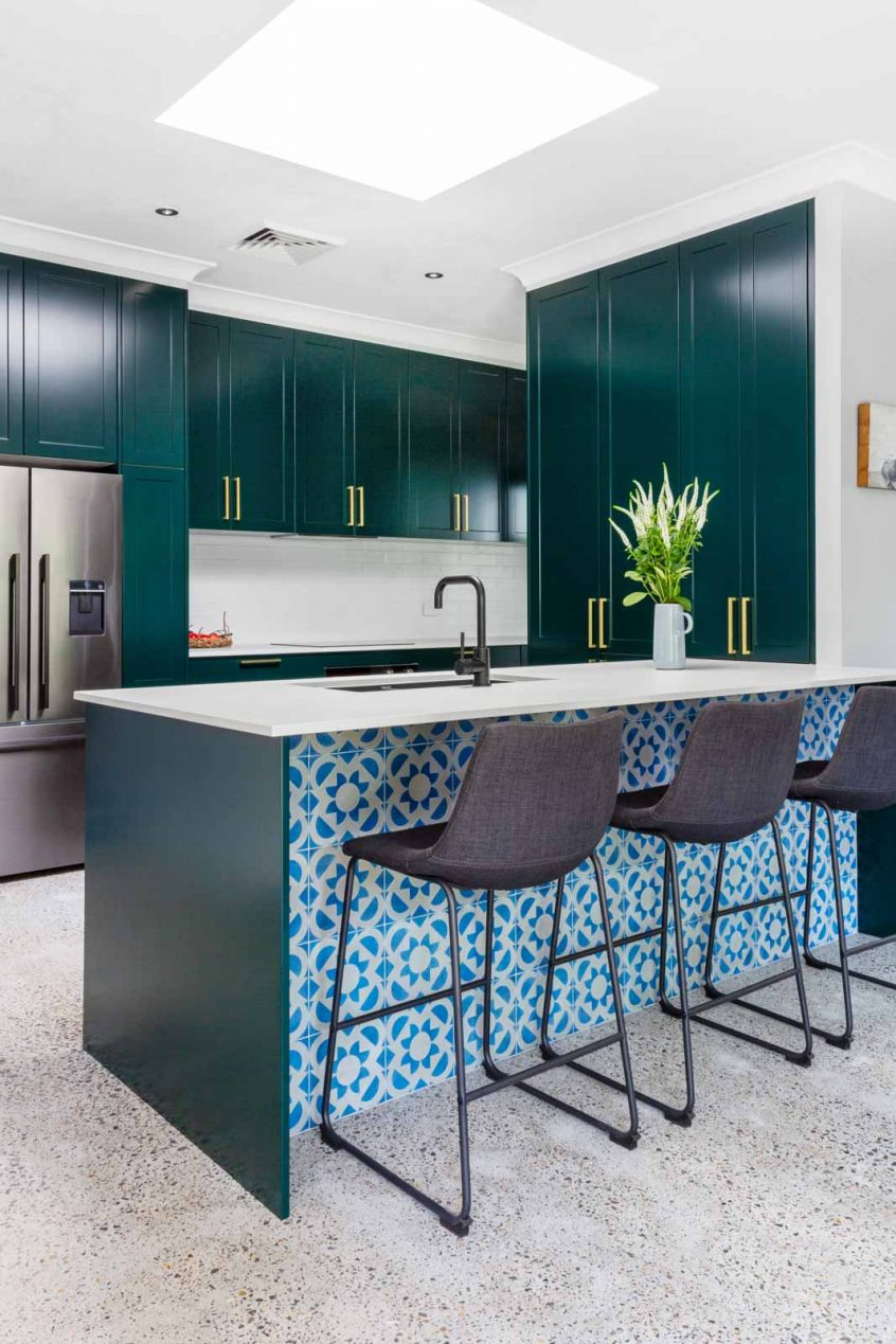 Caesarstone kitchen design, jade green cabinets, Premier Kitchens Sydney