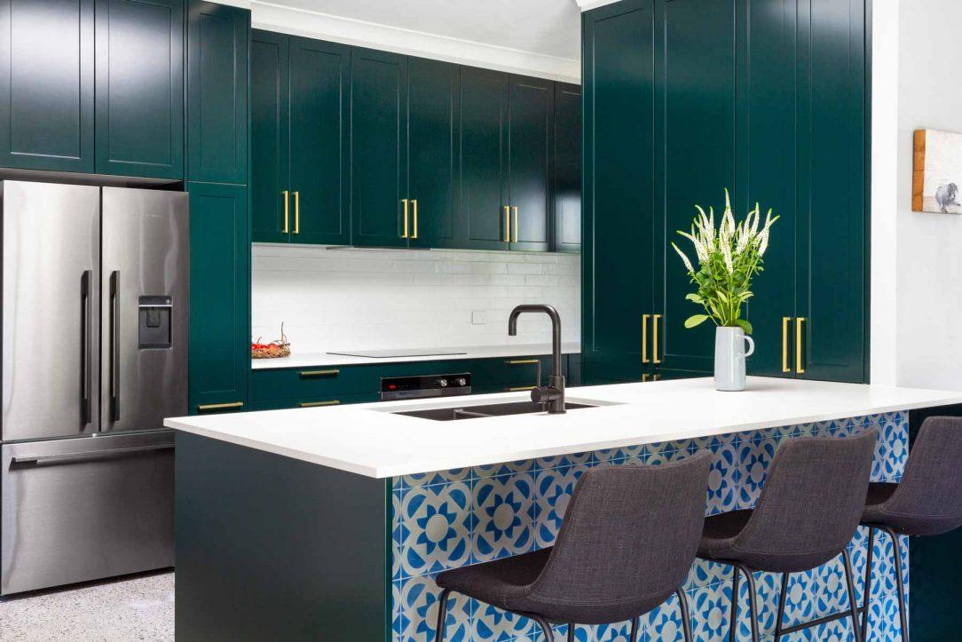 Caesarstone kitchen design, jade green cabinets, Premier Kitchens Sydney