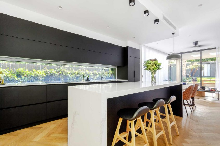 Luxury Caesarstone kitchen design in Mosman Sydney, designed and manufactured by Premier Kitchens Australia