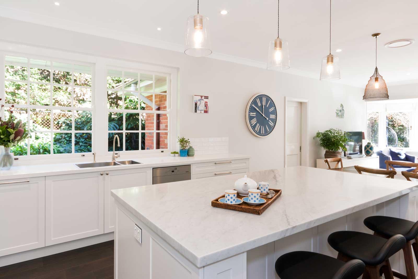 caesarstone benchtop miele appliances hamptons kitchen design white polyurethane cabinets blum hardware shaker doors