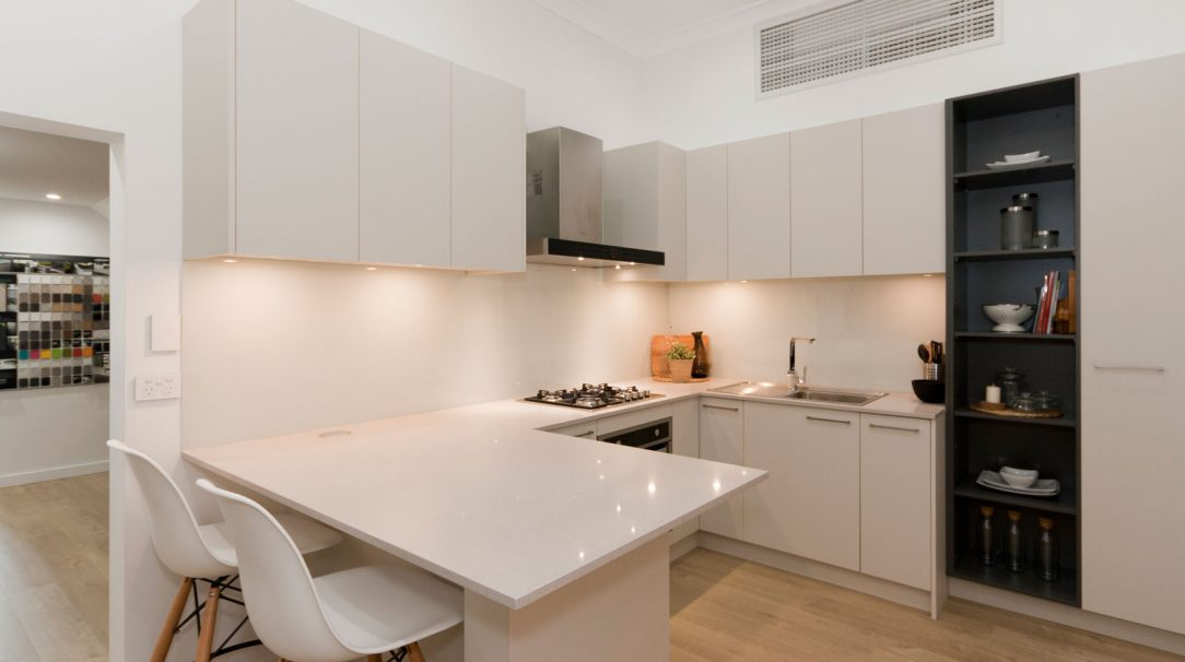 caesarstone-nordic-loft-polytec-kitchen-cabinets-caroma-tapware-clark-sink-premier-kitchens-showroom-display-willoughby-4a