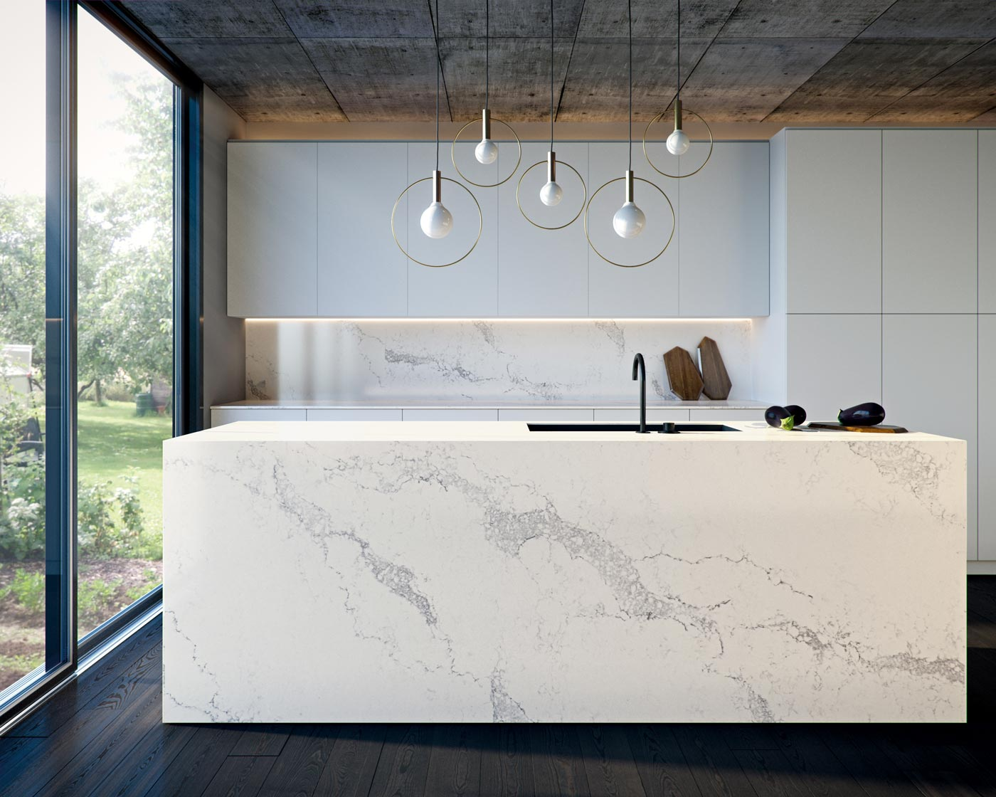 Caesarstone Benchtop Statuario Maximus Island Bench In Modern Kitchen Design