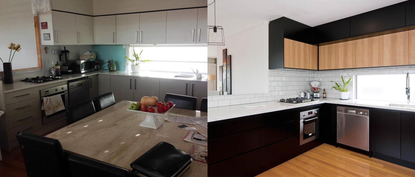 Photo of contemporary, industrial style kitchen design before and after renovation, featuring Caesarstone White Attica benchtop, Dulux black polyurethane cabinets and timber veneer feature to match polished timber flooring