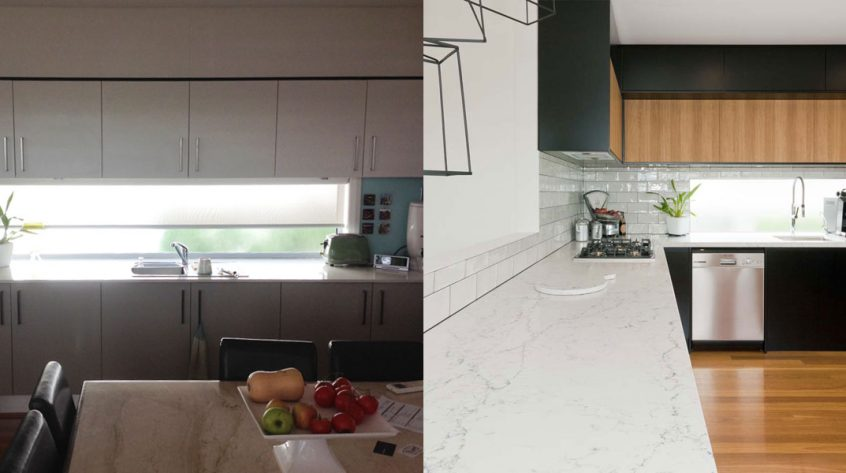kitchen design photos before and after. Photo Of Contemporary  Industrial Style Kitchen Design Before And After Renovation Featuring Caesarstone White Kitchen Ideas Image Gallery Premier Kitchens Australia