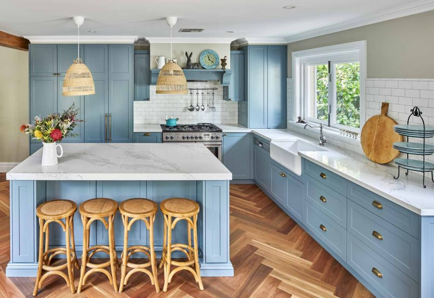 classic kitchen design traditional shaker doors light blue statuario benchtop premier kitchens australia