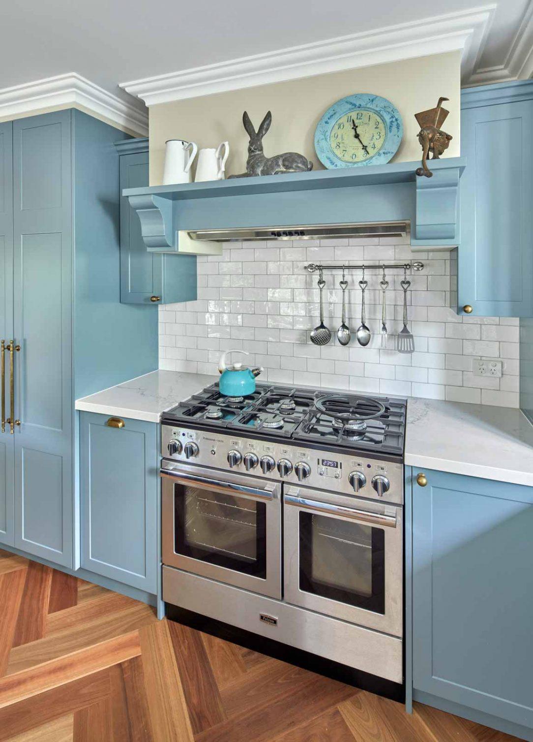 classic kitchen design traditional shaker doors light blue statuario benchtop premier kitchens australia