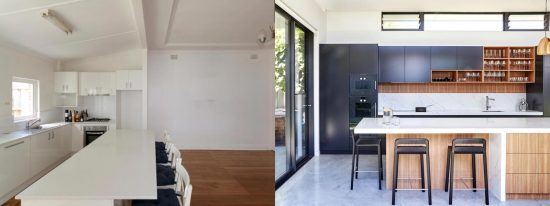 Photo of contemporary kitchen design before and after major renovation, featuring Quantum Quartz Venatino Statuario stone benchtop, polyurethane cabinets & NAV timber veneer feature
