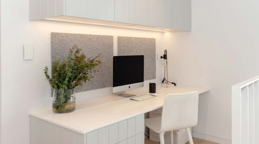 Custom made study desk to match client's kitchen design, Premier Kitchens Australia