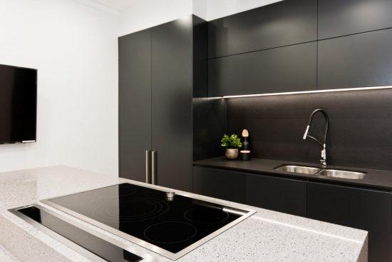 dulux-domino-polyurethane-cabinets-black-kitchen-design ...