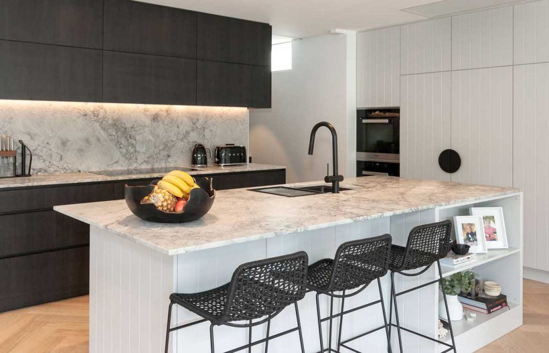 Kitchen design by Premier Kitchens Australia Dulux polyurethane v-groove cabinets, Miele, Smeg grey and black kitchen