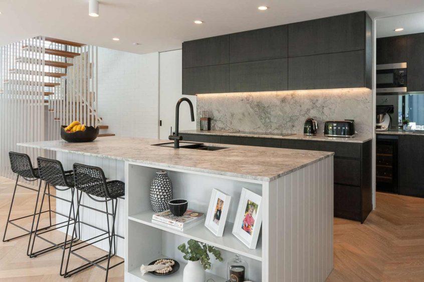 Kitchen design by Premier Kitchens Australia Dulux polyurethane v-groove cabinets, Miele, Smeg grey and black kitchen