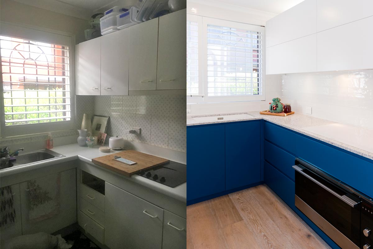 Before and after photo of contemporary blue kitchen design featuring Fisher & Paykel appliances, Caesarstone Blanco Drift stone benchtop and Dulux polyurethane cabinets in white and blue