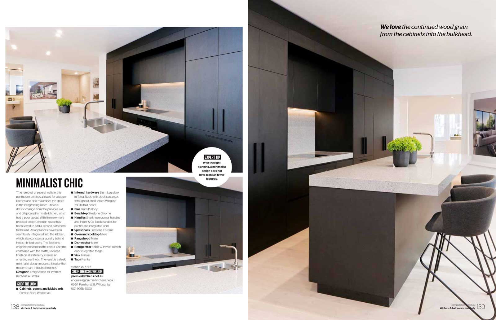 kitchens and bathrooms quarterly magazine article featuring Premier Kitchens Australia Bondi kitchen design