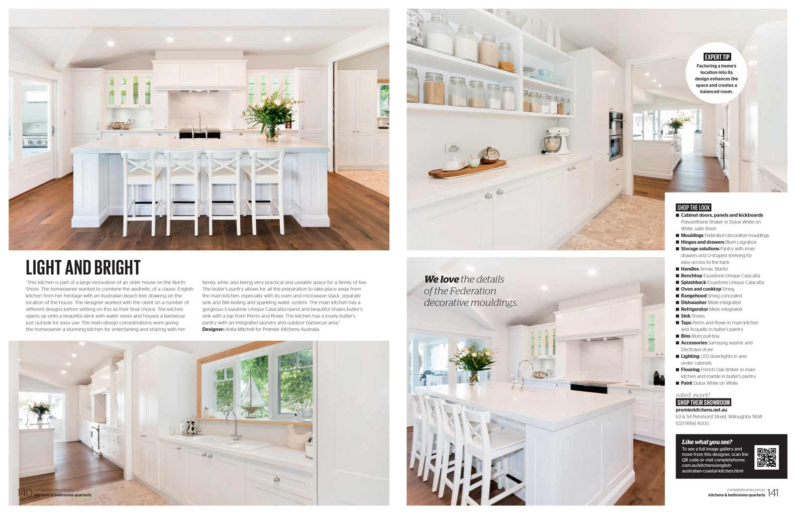 Kitchens and Bathrooms Quarterly magazine article featuring Premier Kitchens Australia Clontarf kitchen design
