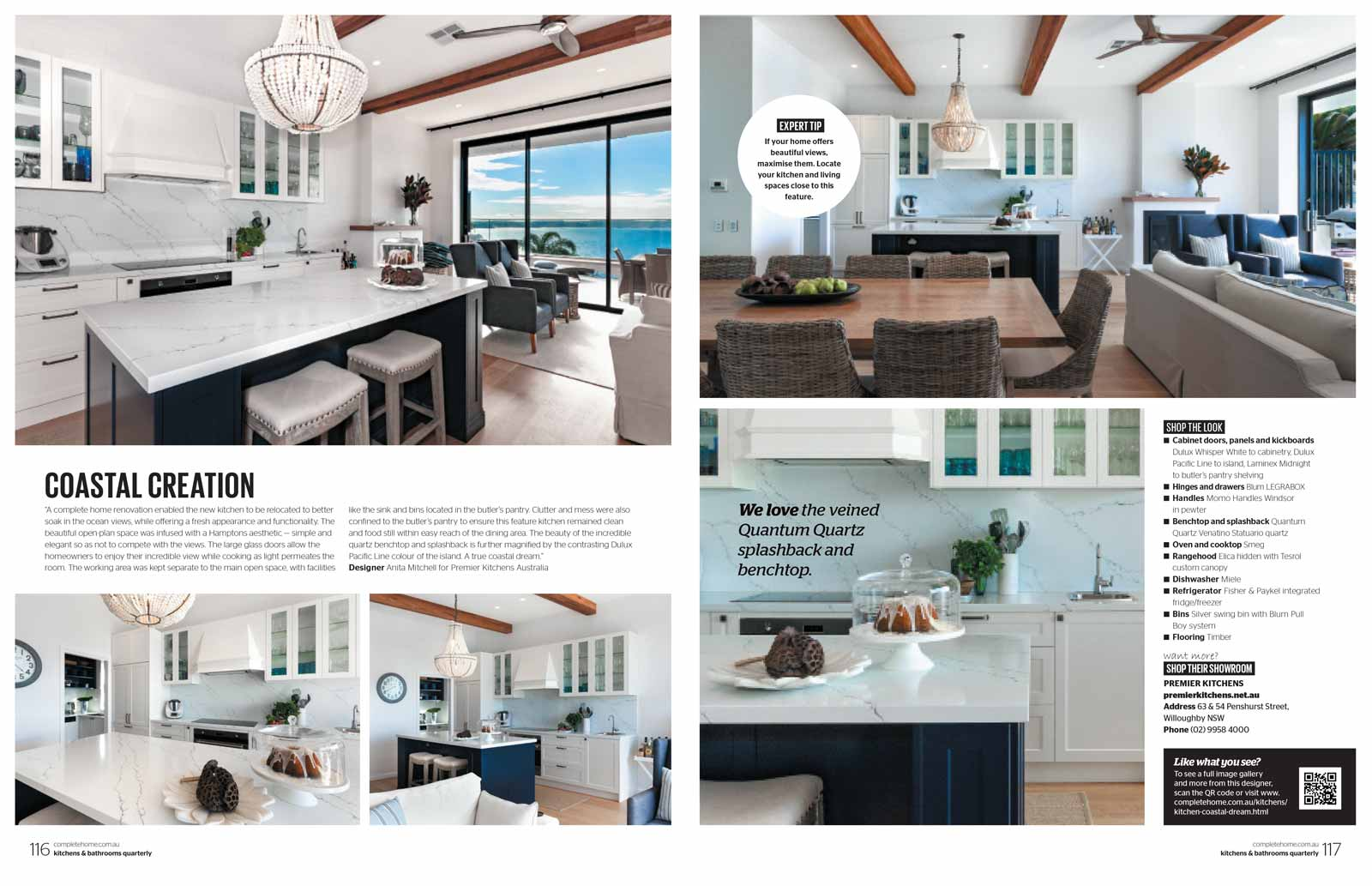 Kitchens and Bathrooms Quarterly magazine article featuring Premier Kitchens Australia Palm Beach kitchen design