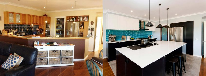 Before and after photo of modern art deco kitchen design renovation featuring Caesarstone White Shimmer stone benchtop with black and white polyurethane shaker cabinets.