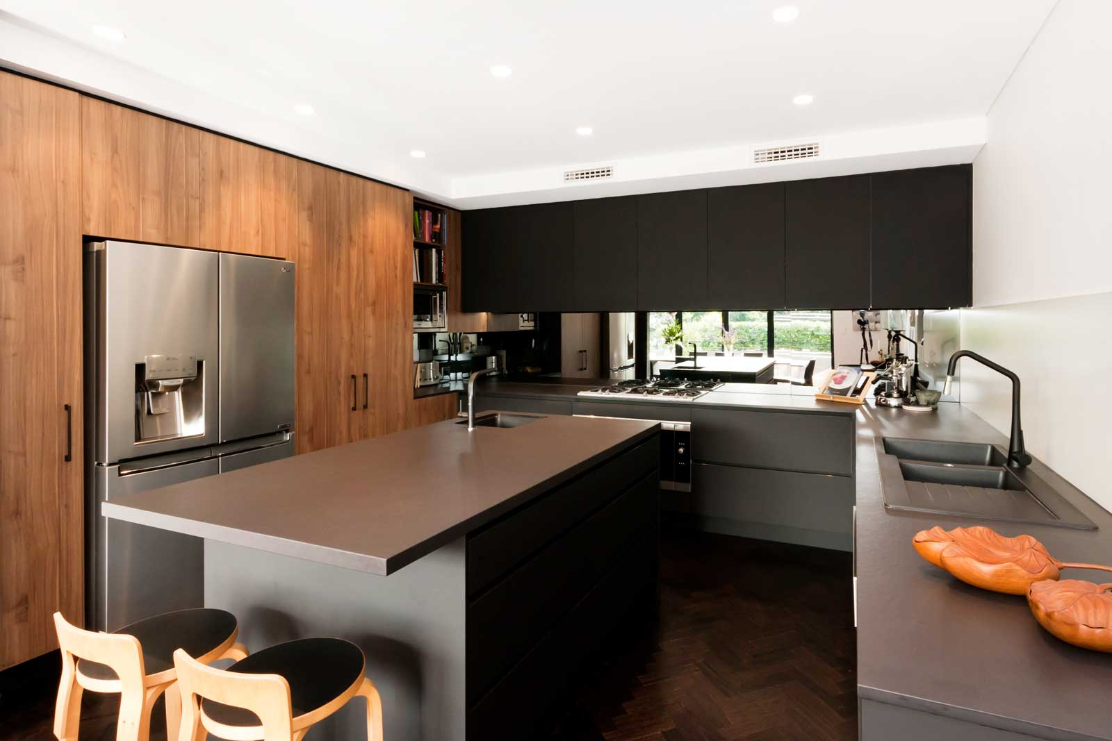 Black And Walnut Kitchen Design Premier Kitchens Australia