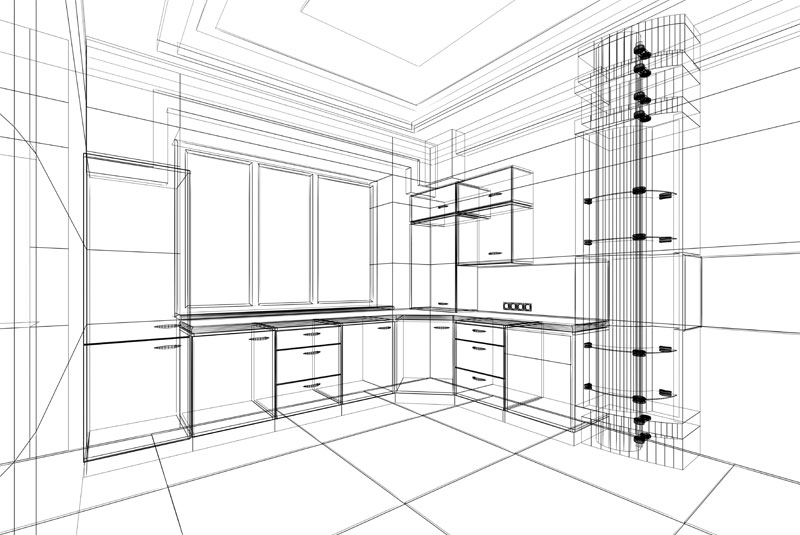 kitchen design 3D line drawing
