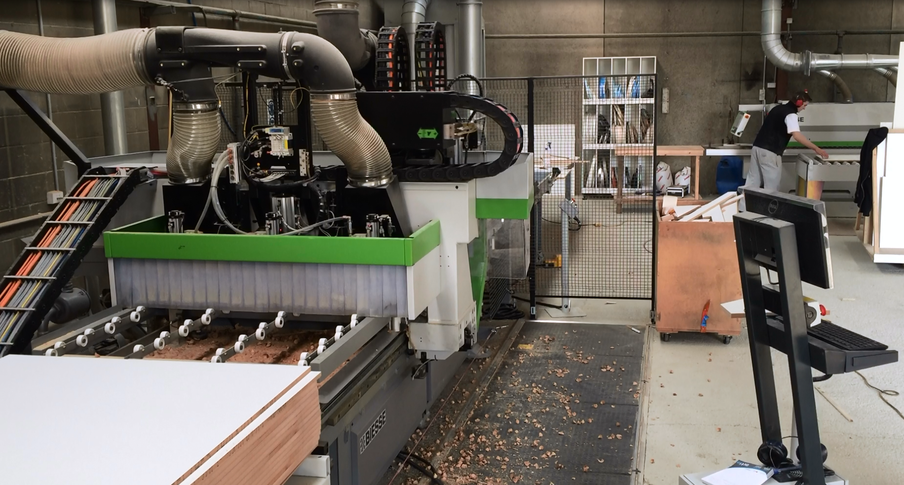 inside the premier kitchens factory using latest CNC cutting machines