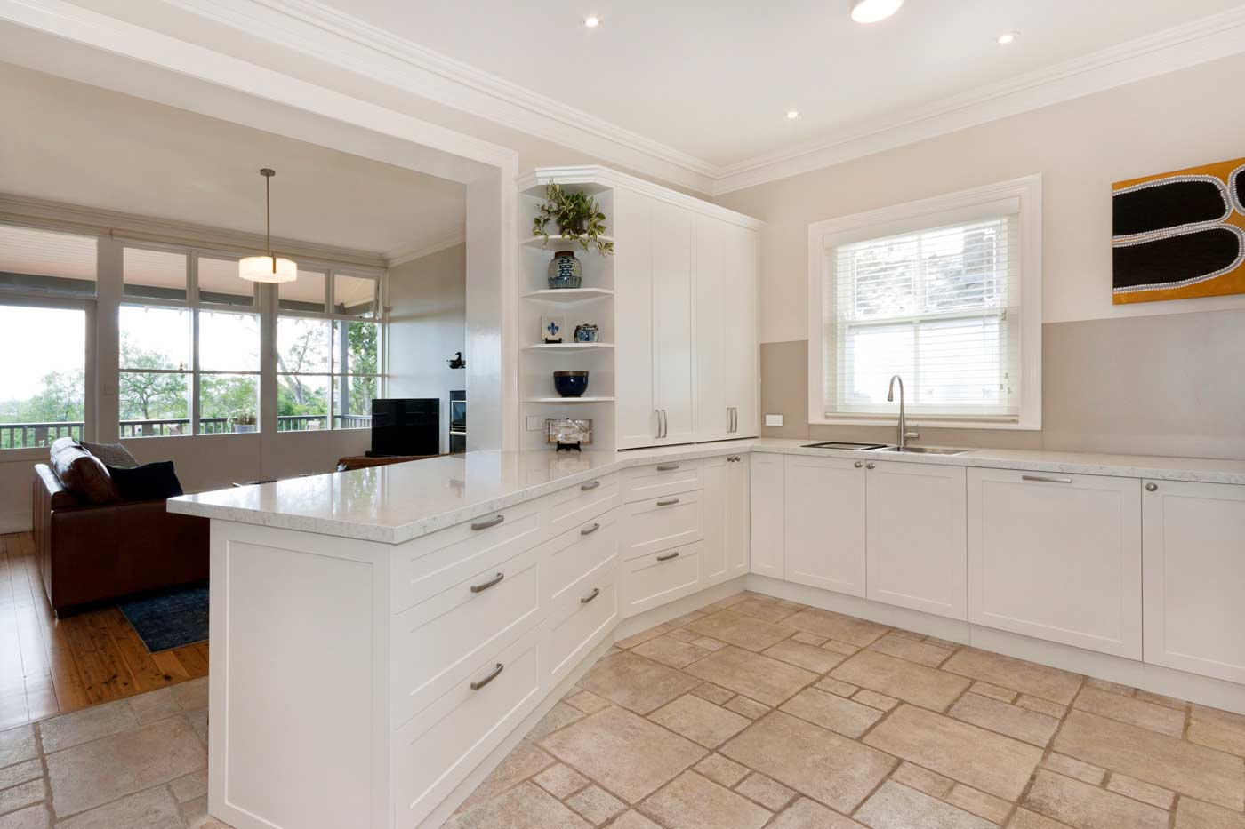 Hamptons style kitchen design featuring Miele appliances, Dulux polyurethane shaker doors in Whisper White & Silestone quartz bench top in Blanco Orion.