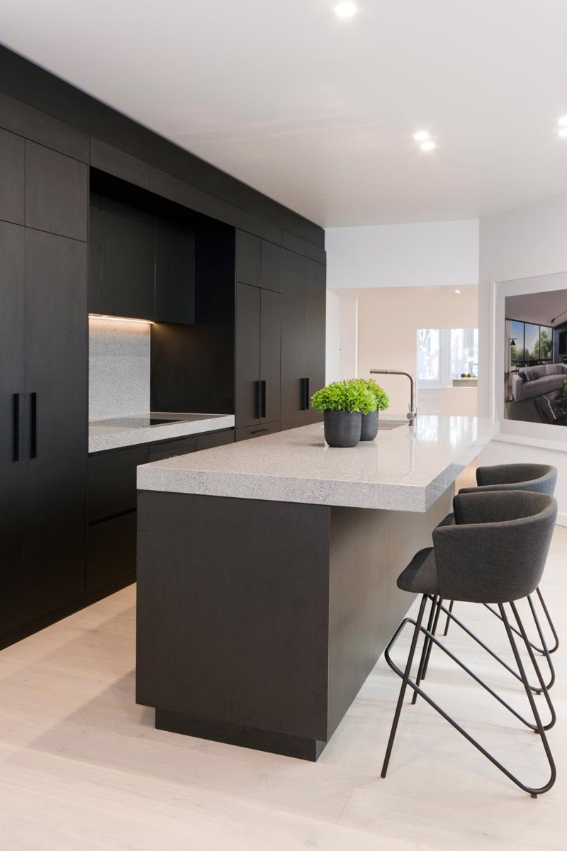 Penkivil st bondi premier kitchens for Flat black kitchen cabinets