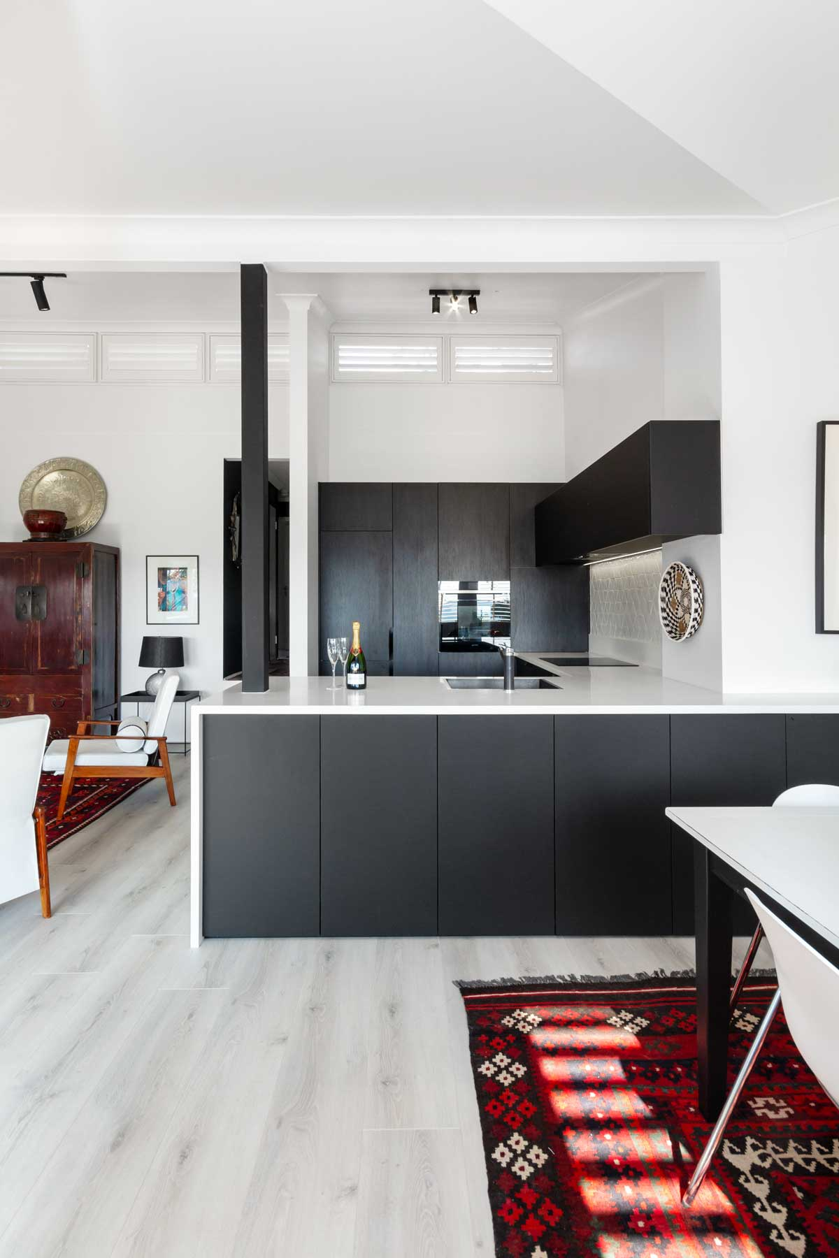 interesting black white kitchen cabinet ideas | Modern Eclectic Kitchen, Russell Lea | Premier Kitchens