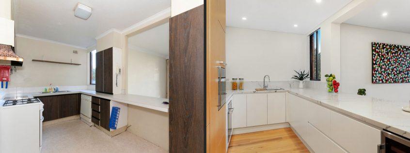 modern-kitchen-renovation-before-after-quantum-quartz-carrara-white-polyurethane-kitchen-cabinets-laminex-veneer-neff-miele-appliances