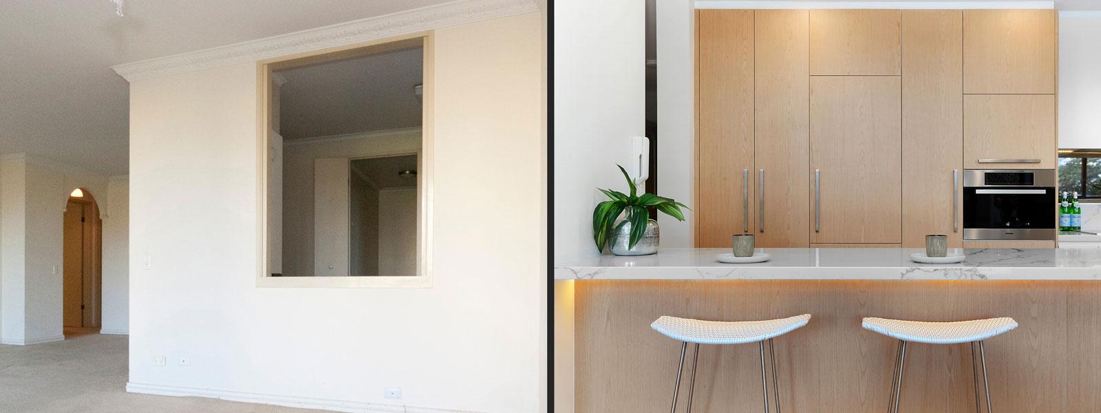 Modern Kitchen Renovation Before After Quantum Quartz Carrara