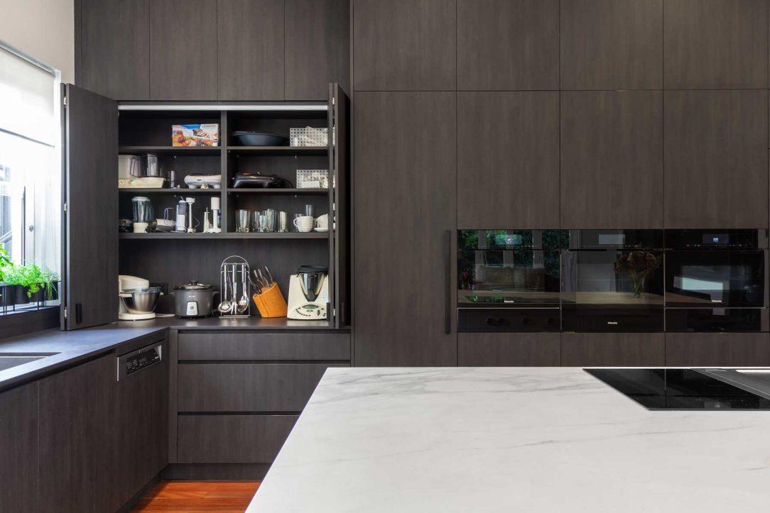 Premier Kitchen design Sydney, Neolith benchtop Dekton splashback Bora cooktop